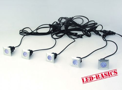 LED-Basics, Outdoor Lighting, LED 5 square deck light kit with transformer, IP65, Blue LED